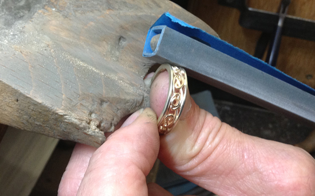 Celtic Wedding ring being finished by Paul